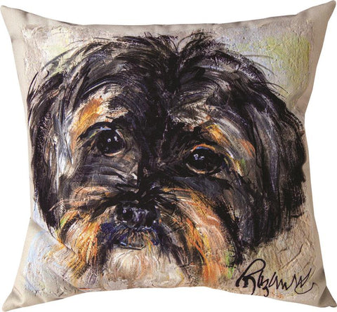 Pet Love Luna Shih Tzu Indoor-Outdoor Pillow by Rozanne Priebe©