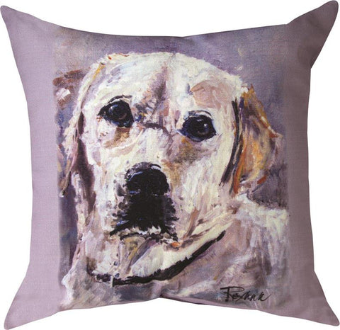 Pet Love Marley Yellow Lab Indoor-Outdoor Pillow by Rozanne Priebe©