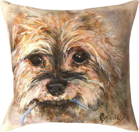 Pet Love Winston Yorkie Indoor-Outdoor Pillow by Rozanne Priebe©