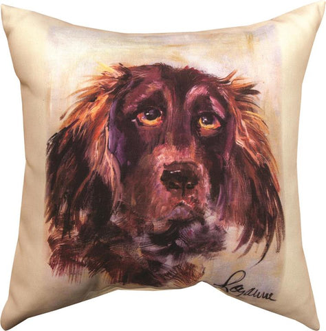 Pet Love Water Spaniel Indoor-Outdoor Pillow by Rozanne Priebe©