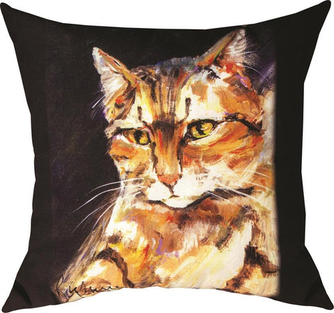 Pet Love Me Too Cat Indoor-Outdoor Pillow by Rozanne Priebe©
