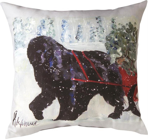 Pet Love Newfounland Indoor-Outdoor Pillow by Rozanne Priebe©