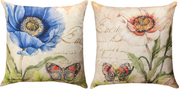 Harlequin Poppy Blue White Indoor-Outdoor Reversible Pillow by Susan Winget©