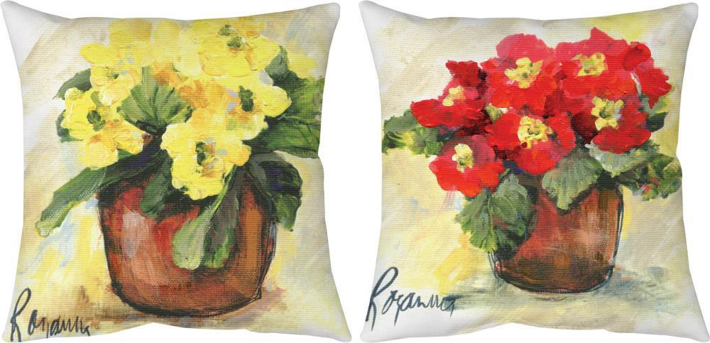 Primrose Red & Yellow Indoor/Outdoor Reversible Pillow by Rozanne Priebe©