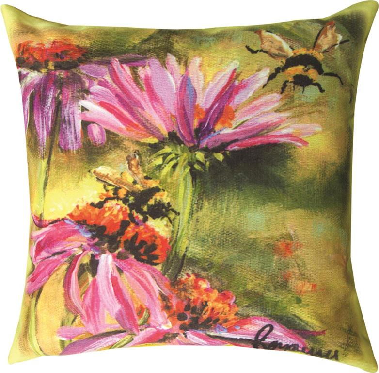 Bee on Cornflower Indoor-Outdoor Pillow by Rozanne Priebe©