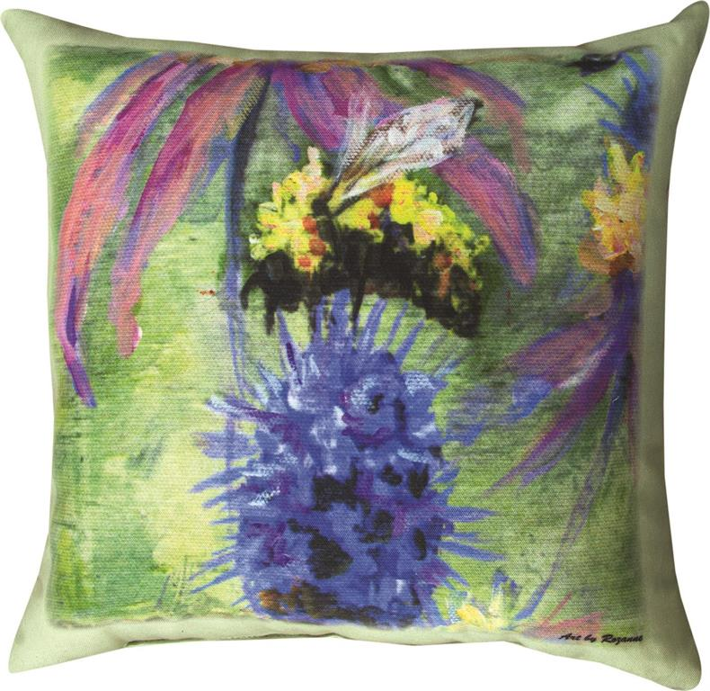 Bumblebee on Purple Flower Indoor-Outdoor Pillow by Rozanne Priebe©