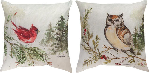 Snowy Forest Owl/Cardinal Indoor-Outdoor Reversible Pillow by Susan Winget© - Holiday Motif