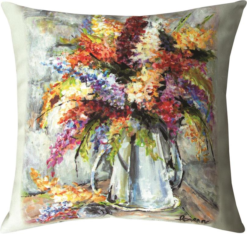 Flowers In Silver Coffee Pot Indoor-Outdoor Pillow by Rozanne Priebe©