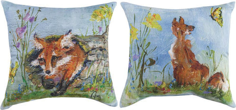 Spring Fox Indoor-Outdoor Reversible Pillow by Rozanne Priebe©