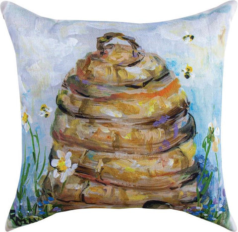 Skep Hive Indoor/Outdoor Pillow by Rozanne Priebe©