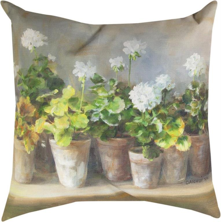 White Geraniums Indoor-Outdoor Pillow by Danhui Nai©