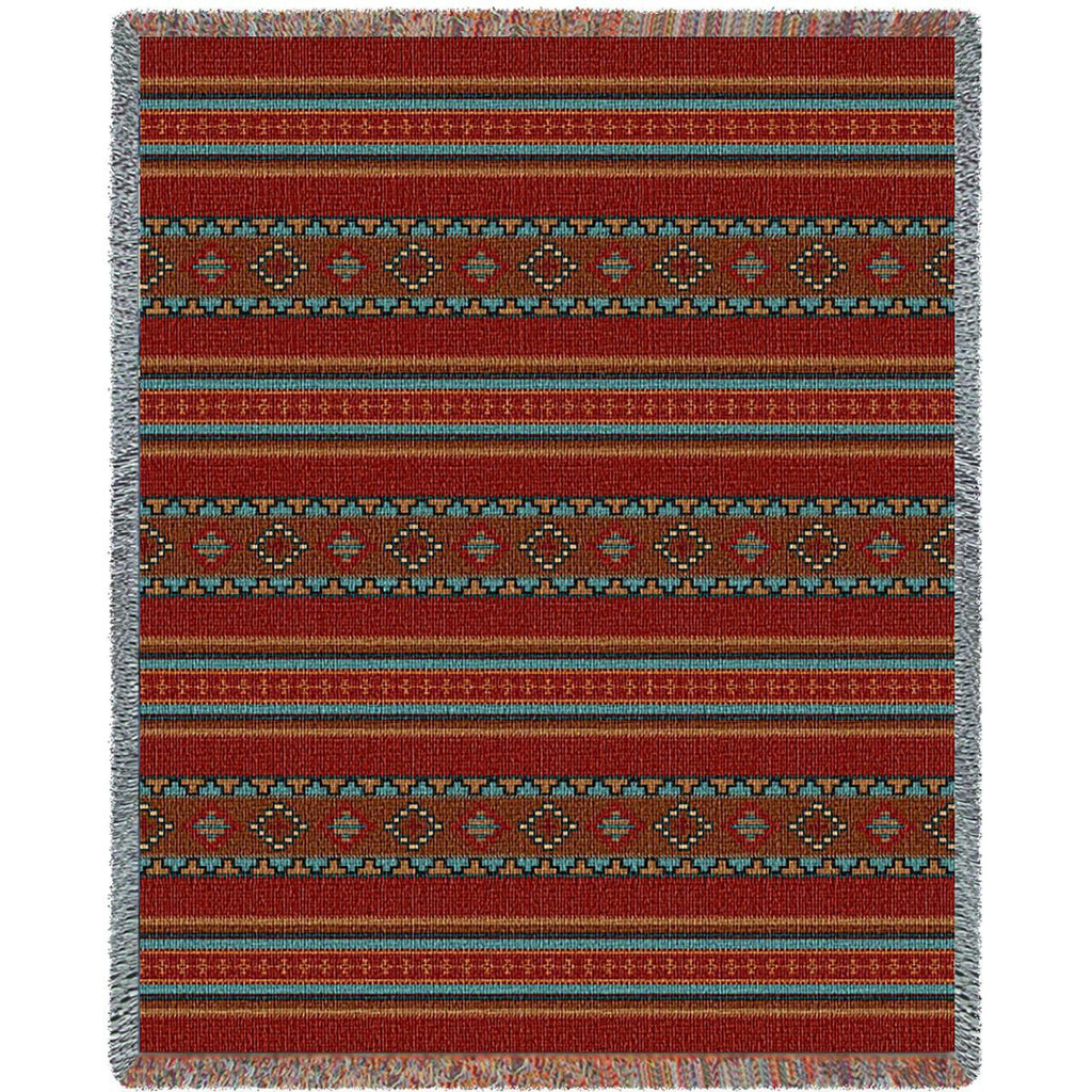 Southwest Saddle Blanket Red Woven Throw Blanket -