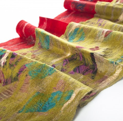 Chartreuse Felted Sari Collage Wool-Silk Scarf - One-of-a-Kind -   - 2