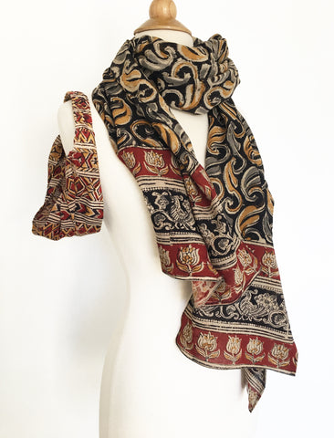 Natural Dye Cotton Block Print Scarf II
