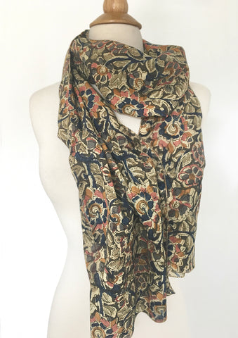 Natural Dye Cotton Block Print Scarf XI