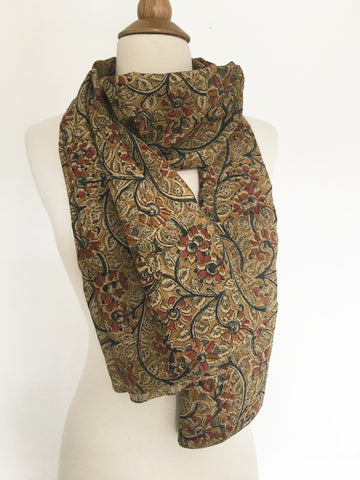 Natural Dye Cotton Block Print Scarf XII