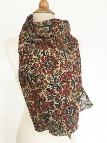 Natural Dye Cotton Block Print Scarf VII