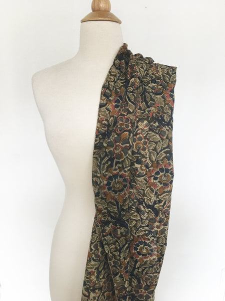 Natural Dye Cotton Block Print Scarf VIII