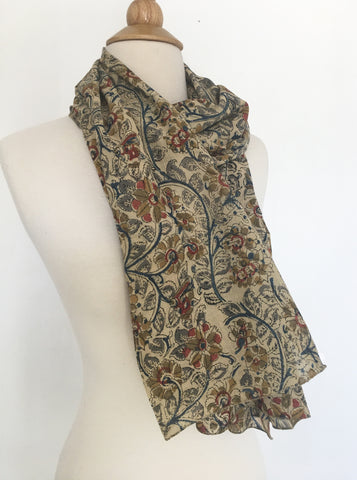 Natural Dye Cotton Block Print Scarf IX