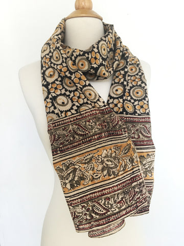 Natural Dye Cotton Block Print Scarf I