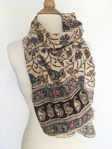 Natural Dye Cotton Block Print Scarf VI
