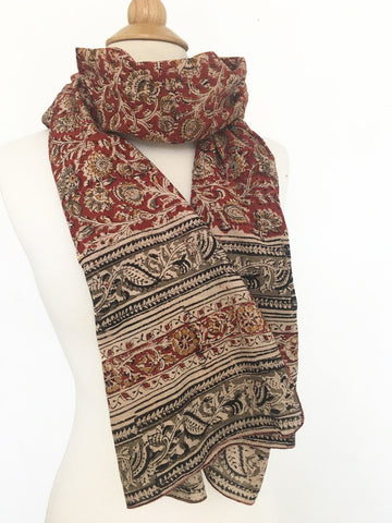 Natural Dye Cotton Block Print Scarf III
