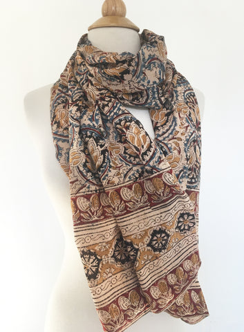 Natural Dye Cotton Block Print Scarf IV