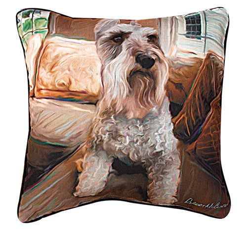 Schnauzer Pillow by Robert McClintock -