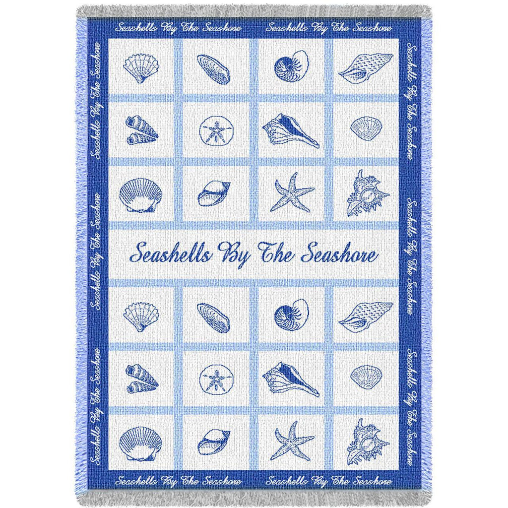 Sea Shells by the Sea Short Woven Throw Blanket