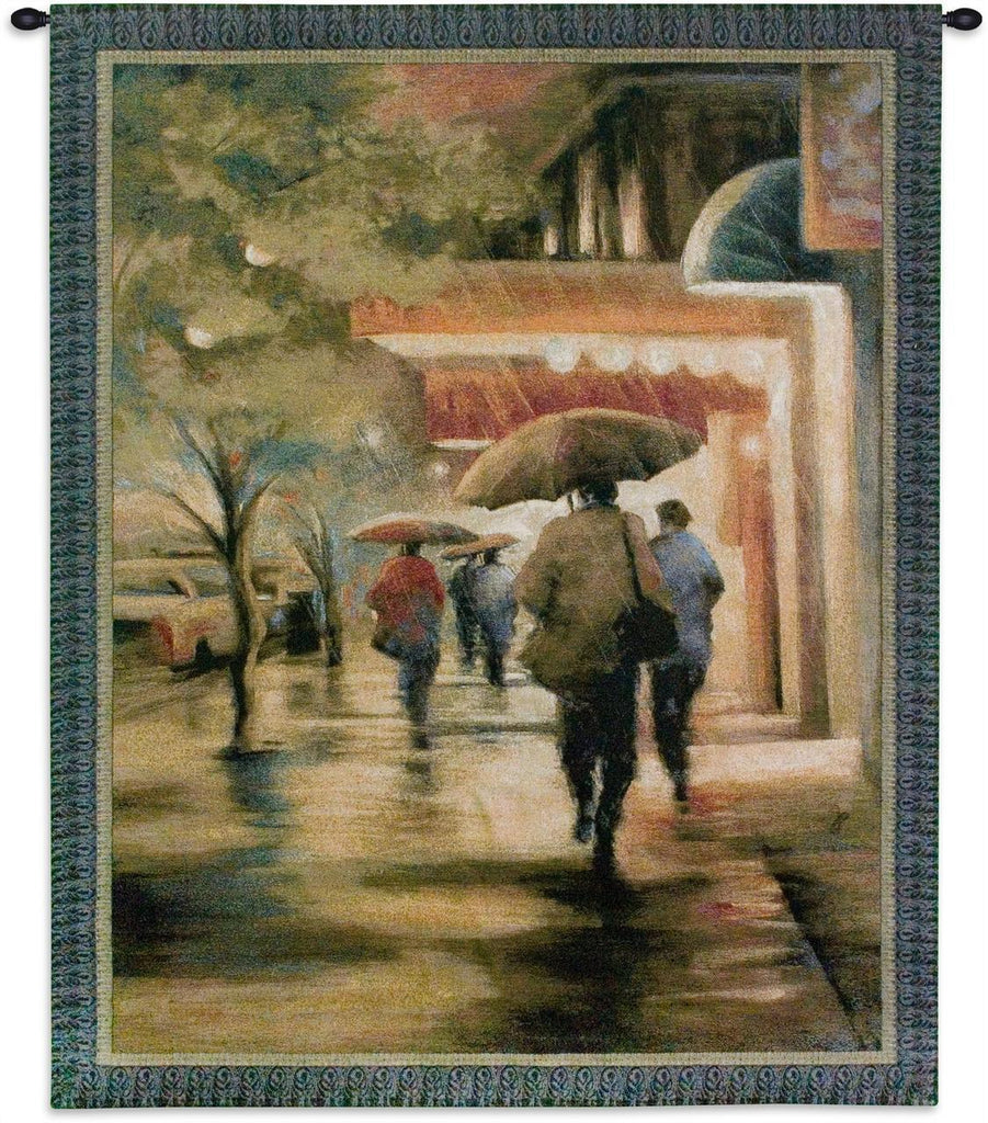 Second Street Drizzle Wall Tapestry by Carol Jessen© - Cityscape