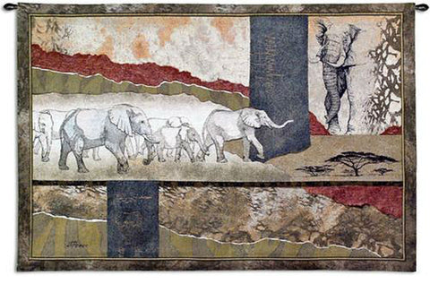 Serengeti Elephants Wall Tapestry by Joseph Poirier -