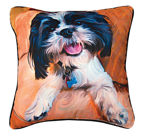 Shih Tzu Baby Pillow by Robert McClintock -   - 1