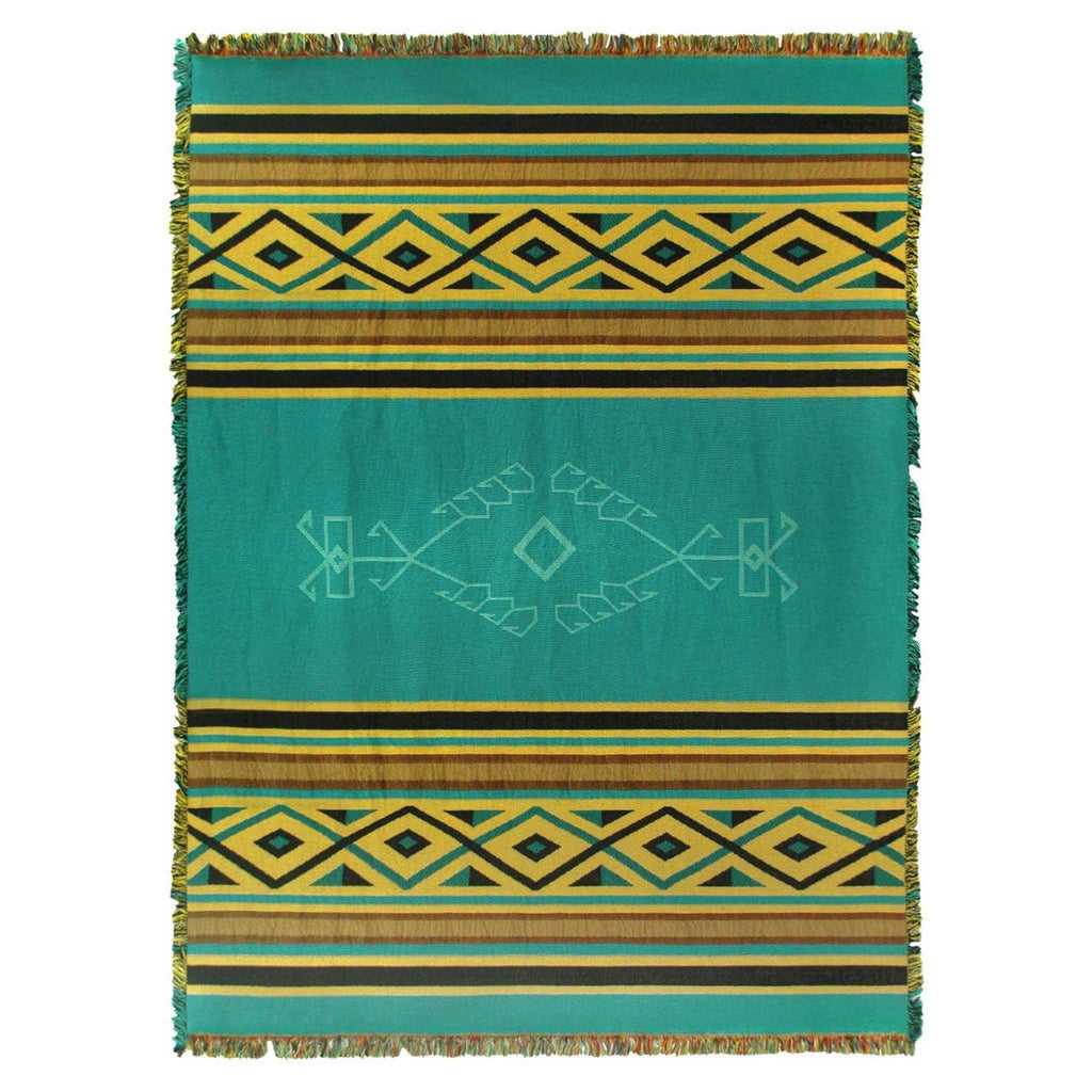 Southwest Desert Rain Woven Cotton Throw Blanket