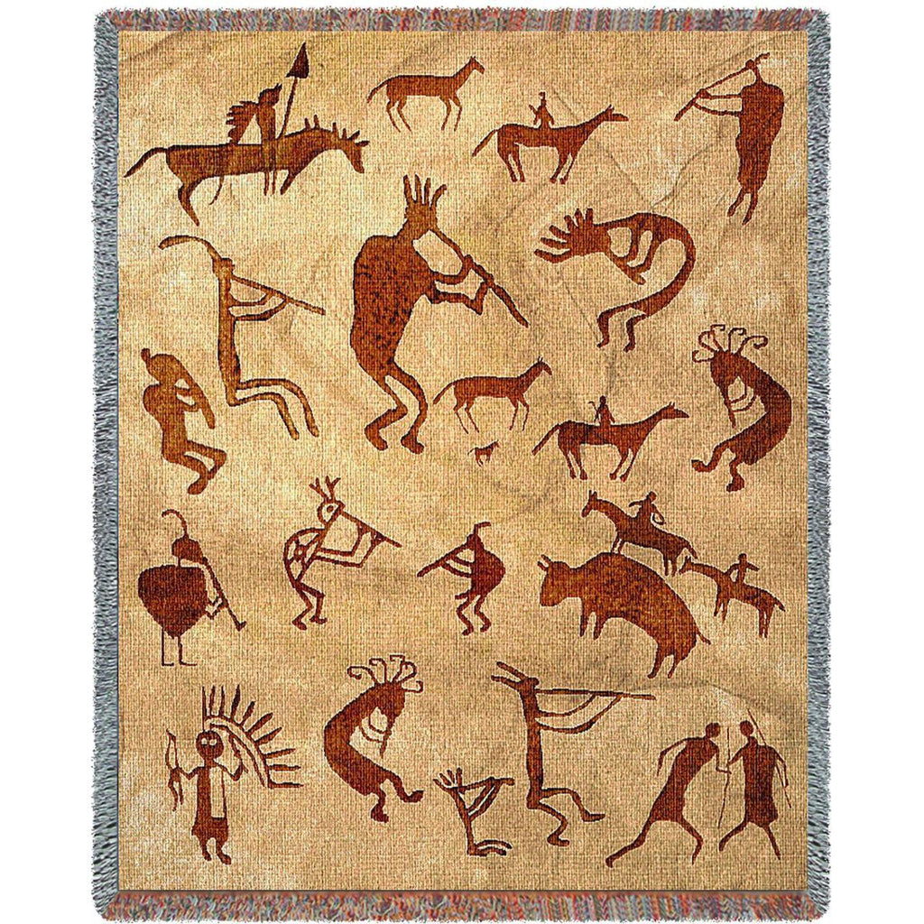 Southwest Petroglyphs Woven Throw Blanket -
