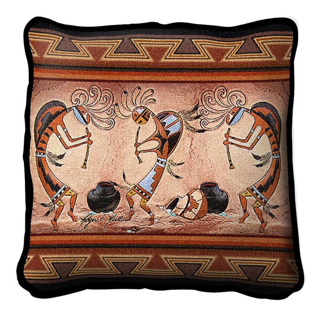 Southwest Kokopelli Pot Dance Tapestry Pillow