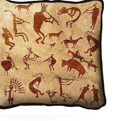 Southwest Kokopelli Petroglyphs Tapestry Pillow Cover
