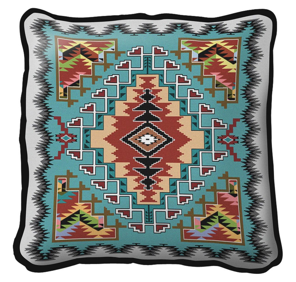Southwest Painted Hills Turquoise Tapestry Pillow