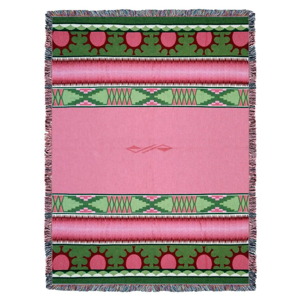 Southwest Concho Springs Rose Woven Cotton Throw Blanket