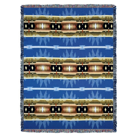 Southwest Cimarron Blue Woven Cotton Throw Blanket