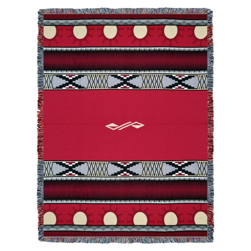 Southwest Concho Springs Red Woven Cotton Throw Blanket