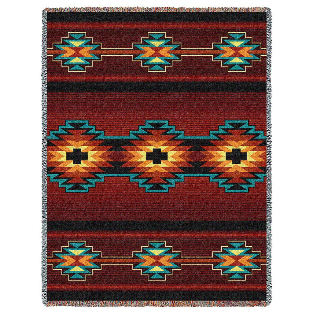 Southwest Geometric Deep Red Woven Throw Blanket -