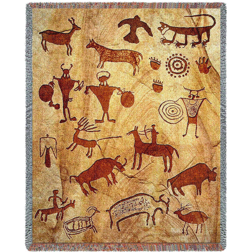 Rock Art Woven Throw Blanket -