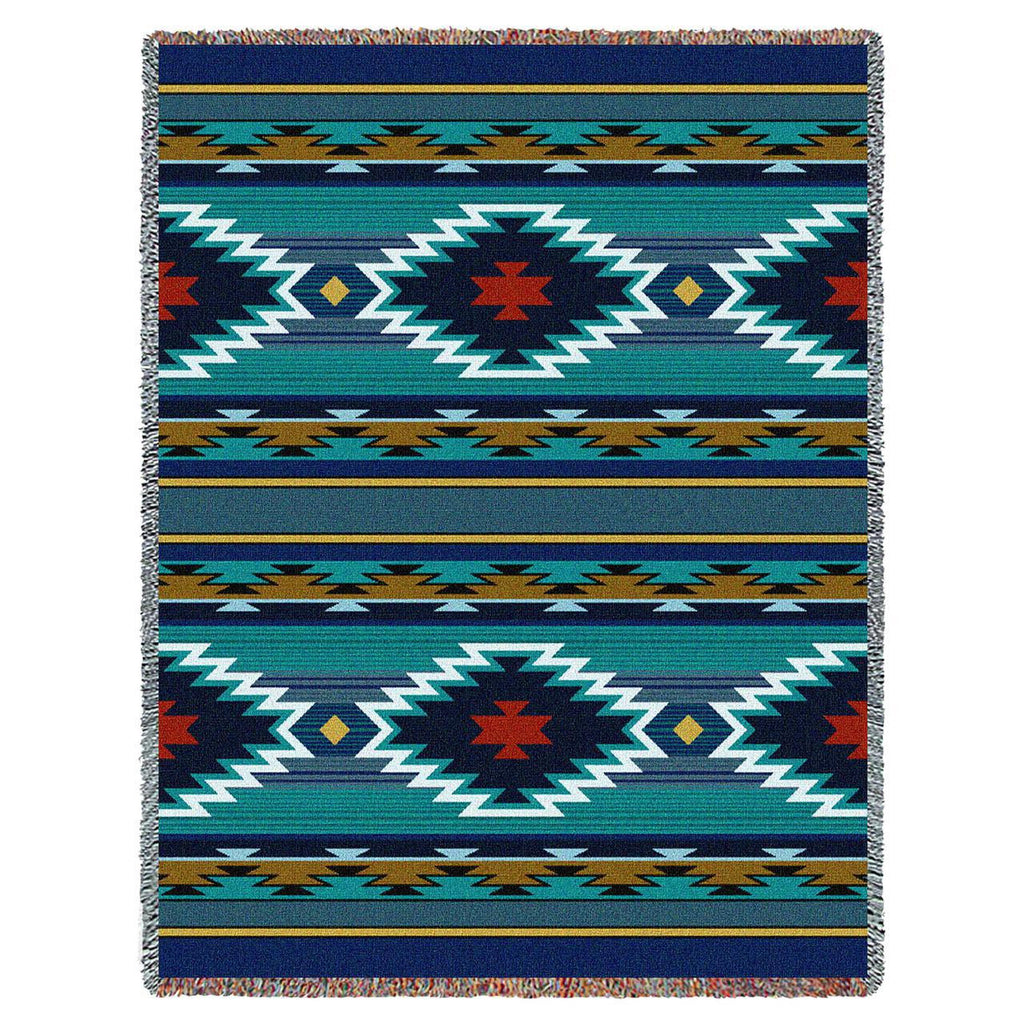 Southwest Geometric Cornflower Woven Throw Blanket -