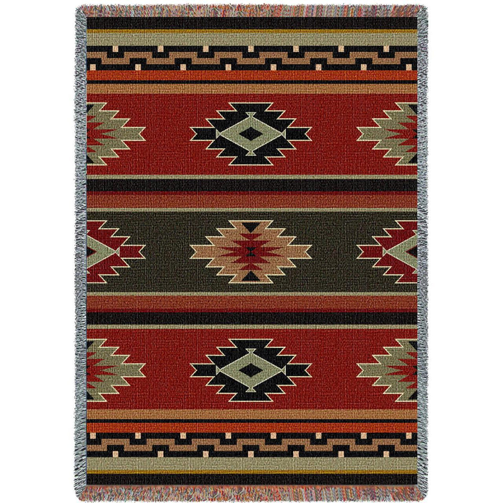 Southwest Geometric Sampler Red and Green Woven Throw Blanket -