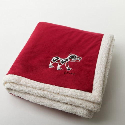 "Joe Mandur, Jr.© ""Spirit Bear"" Embroidered Lambswool Throw - Garnet"