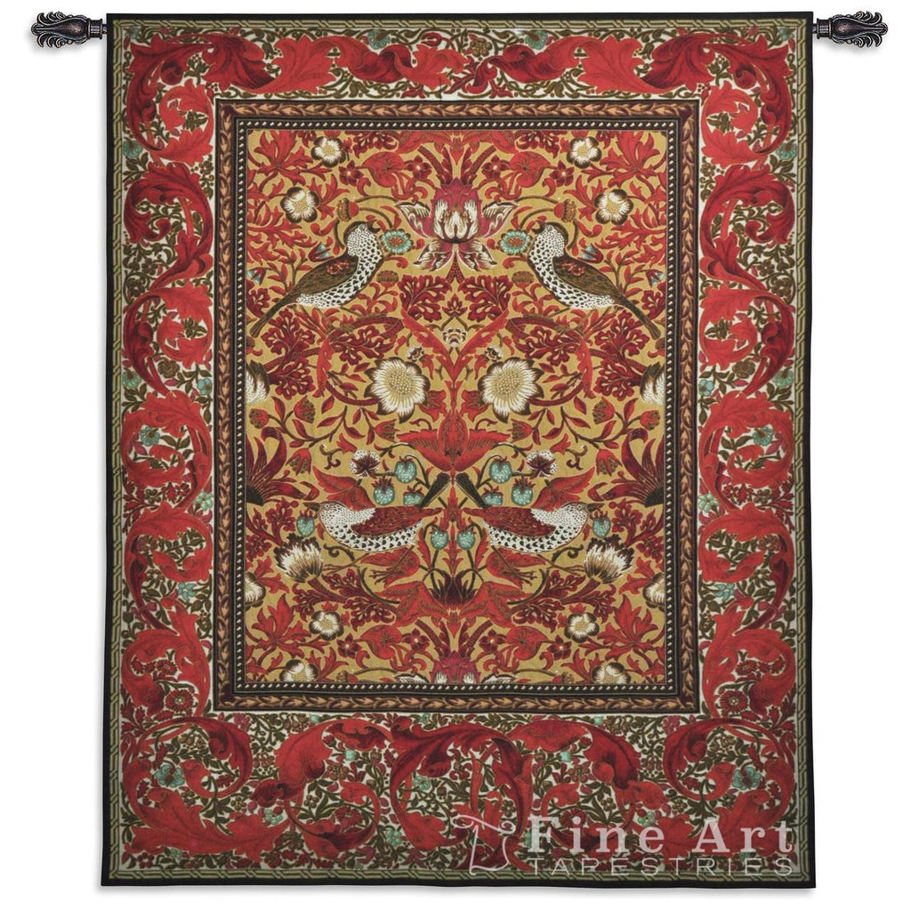 William Morris© Strawberry Thief Red Wall Tapestry -