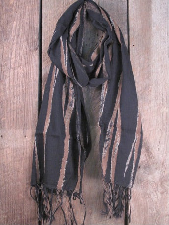 Handcrafted Cotton Scarf with Bark Pattern