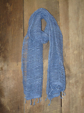 Thai Handwoven Cotton Open Weave Scarf - Coronet Blue -