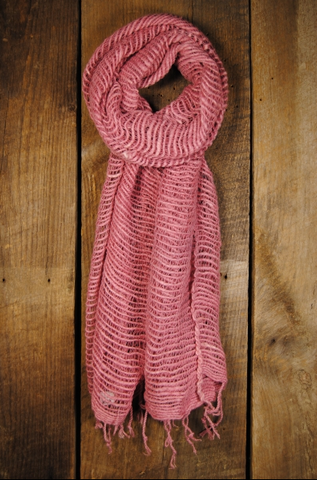 Thai Handwoven Cotton Open Weave Scarf - Blush -