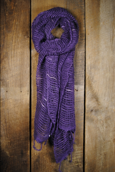 Thai Handwoven Cotton Open Weave Scarf - Mulled Grape -